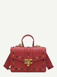 Studded Decor Pebble Embossed Crossbody Bag