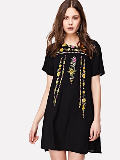 Flower Embroidery Keyhole Back Dress