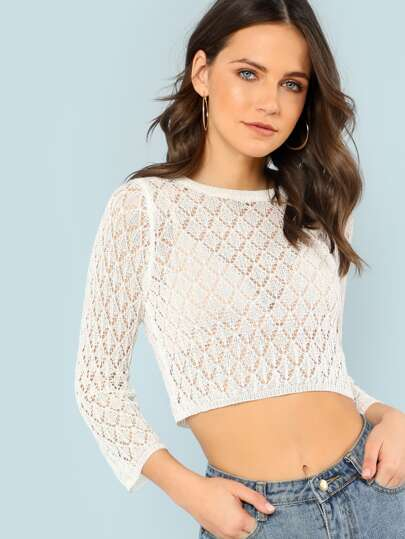 Knitted Mesh Sweater Crop Top WHITE