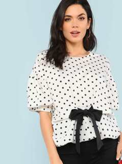 Polka Dot Bubble Sleeve Dip Hem Top with Front Tie Contrast Detail OFF WHITE