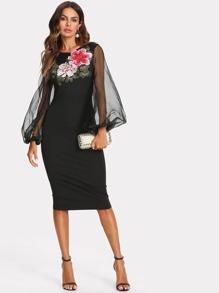 Flower Applique Mesh Overlay Dress