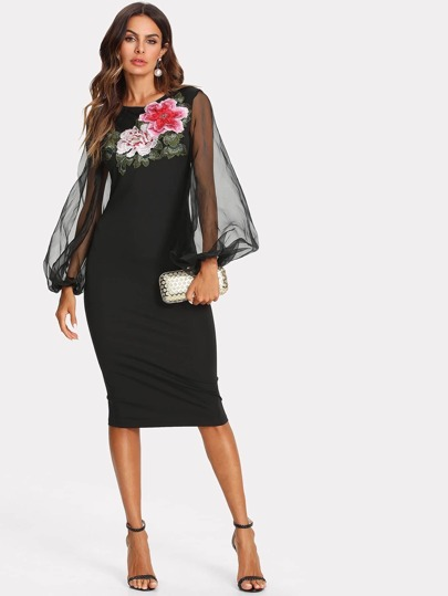 Flower Applique Mesh Overlay Dress