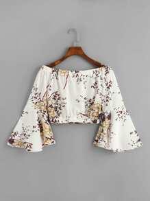 Off Shoulder Fluted Sleeve Floral Top
