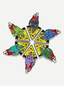 Hand With Pizza Design Brooch Set