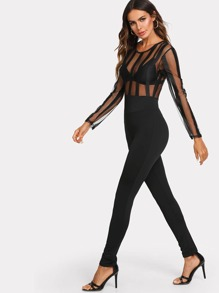 Zip Back Mesh Bodice Tailored Jumpsuit Without Bra