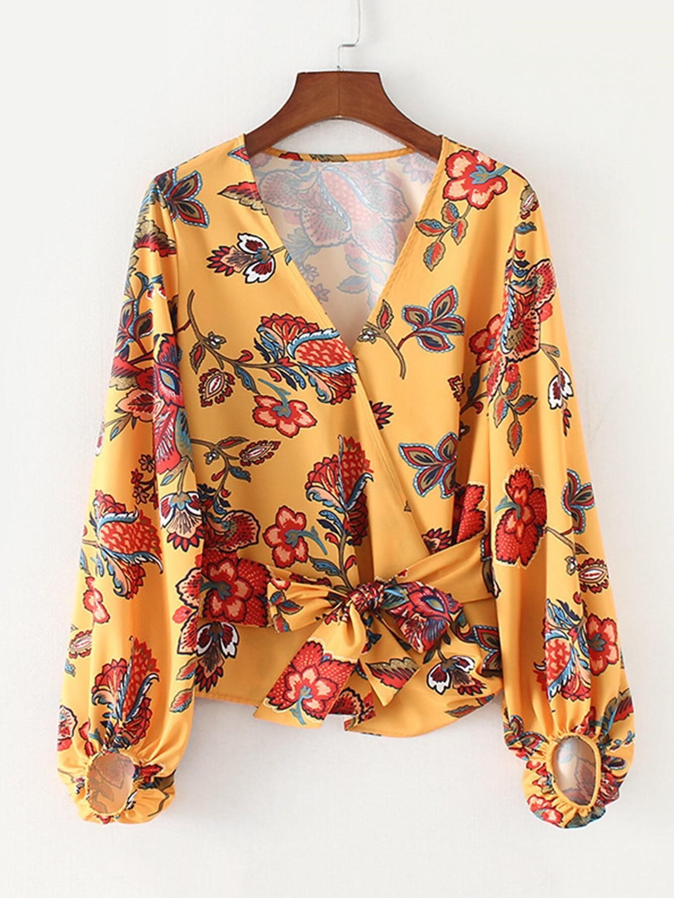 Botanical Print Bishop Sleeve Wrap Blouse botanical print drawstring detail wrap blouse