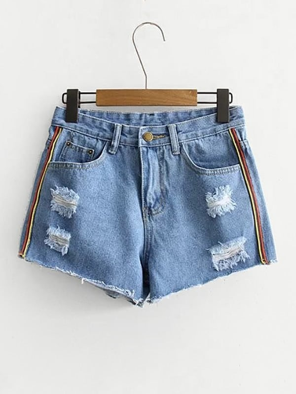 Stripe Side Raw Hem Denim Shorts