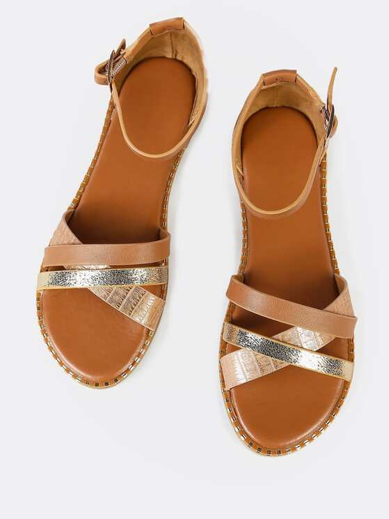 13f0a3b616 Metallic Accent Criss Cross Strappy Sandal GOLD MULTI | MakeMeChic.COM