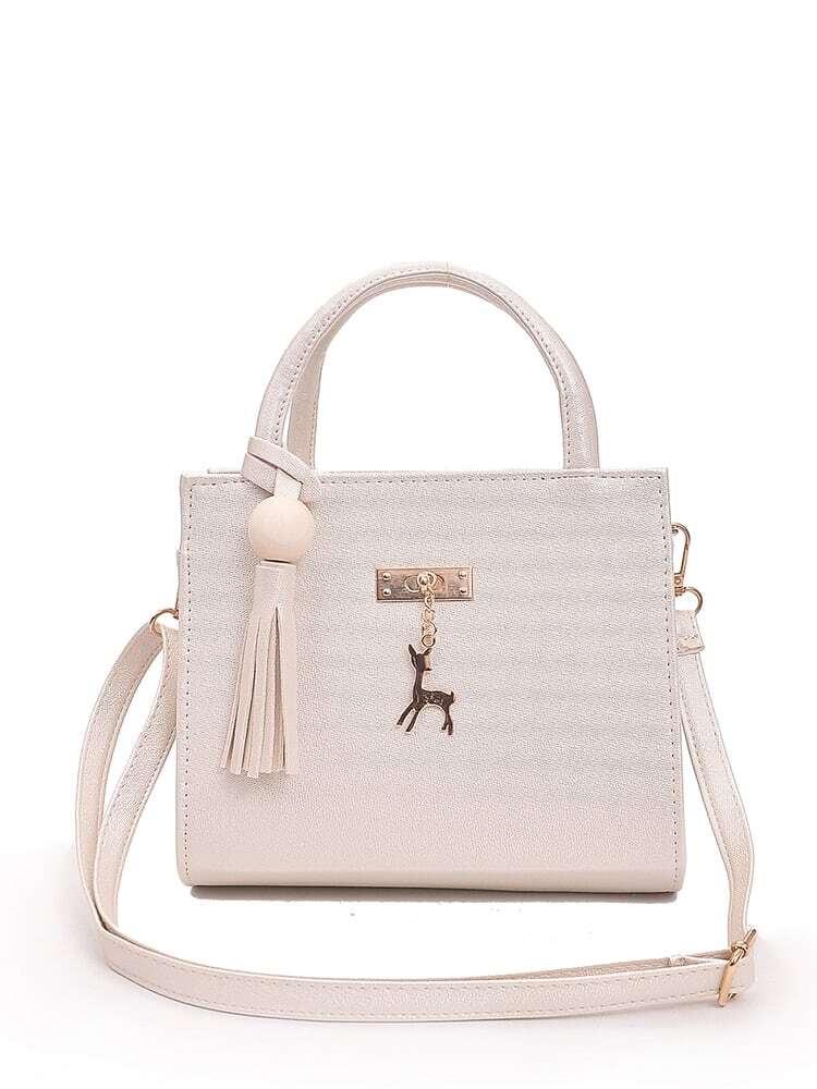 Tassel Decor Shoulder Bag With Deer Charm