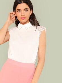 Floral Lace Cap Sleeve Blouse