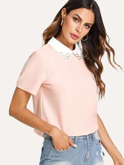Pearl Embellished Contrast Collar Tee