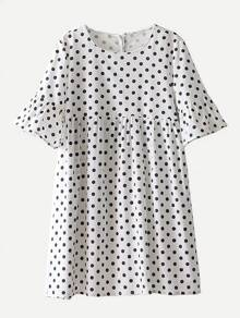 Ruffle Sleeve Spot Babydoll Dress