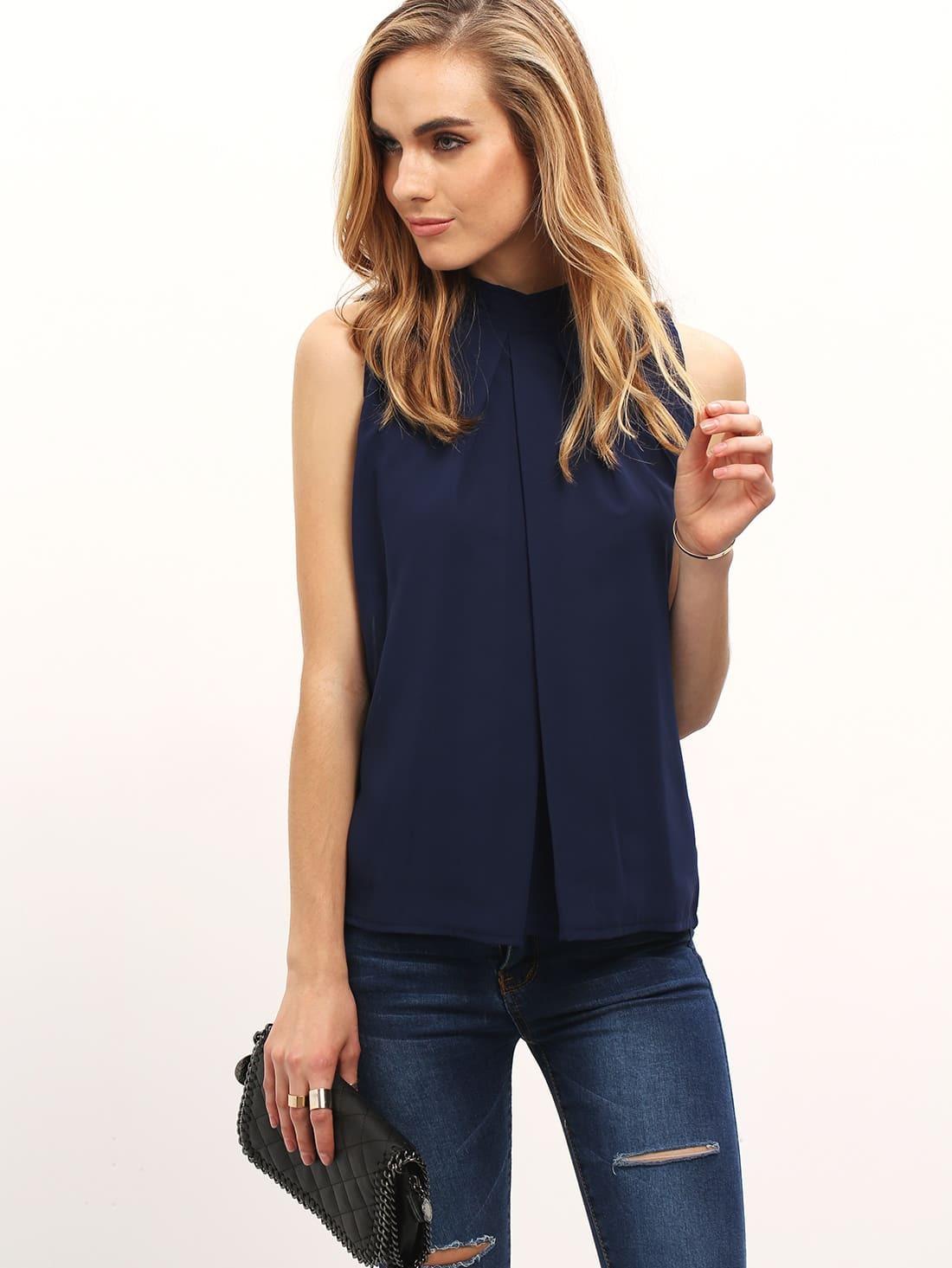 Купить Тёмно-синий модный шифоновый топ, Charlotte, SheIn