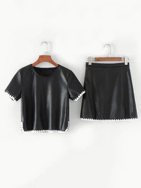 Contrast Crochet Trim PU Top With Skirt