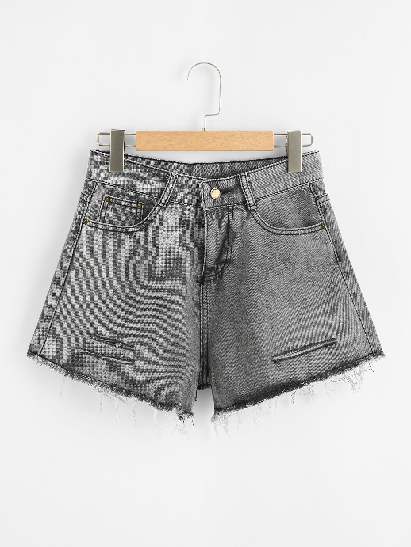 Bleach Wash Raw Hem Denim Shorts stylish women s lace embellised bleach wash denim shorts