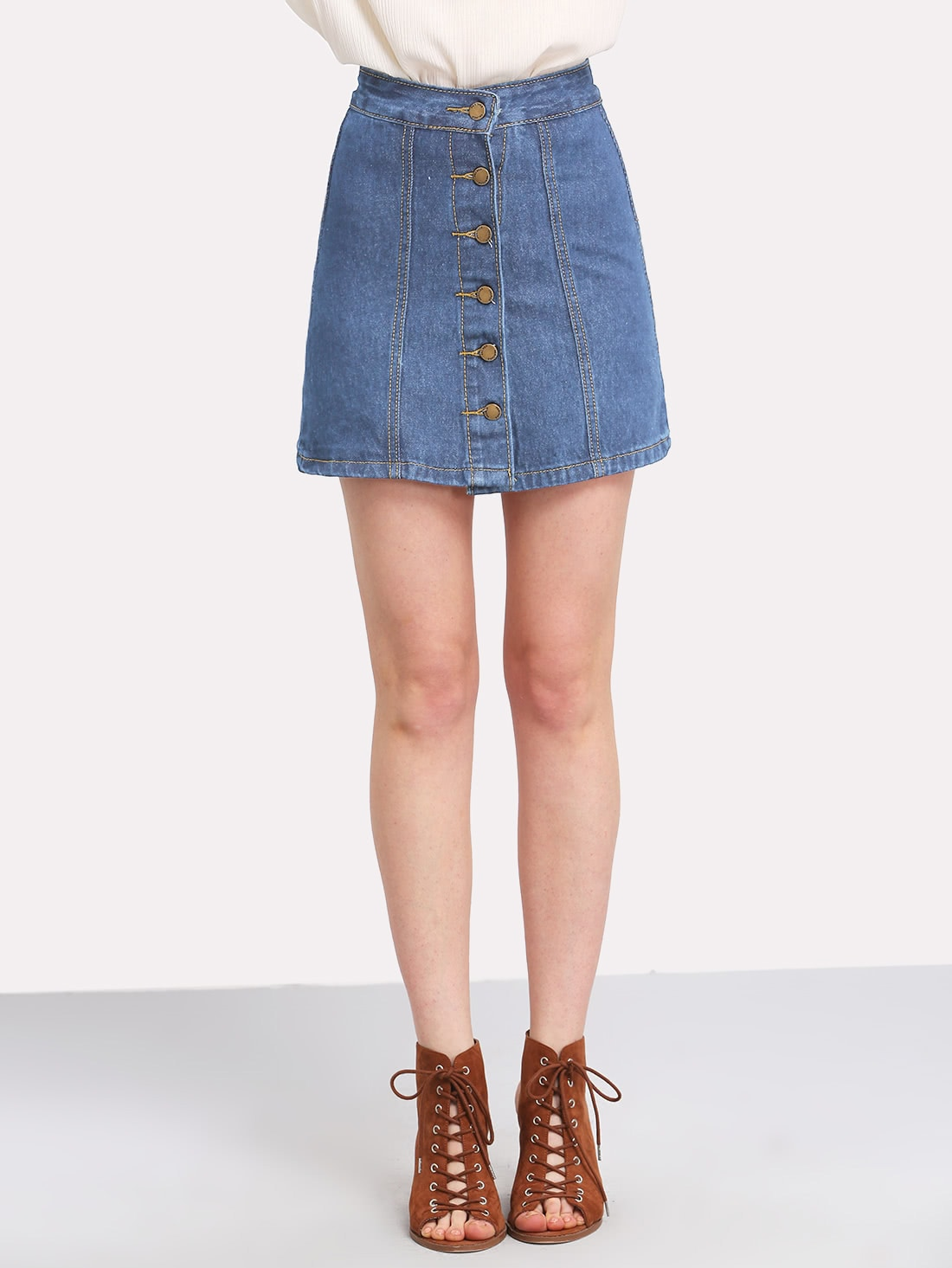 Button Front Denim Skirt button up denim skirt