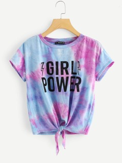 Letter Print Knot Front Tie Dye Tee