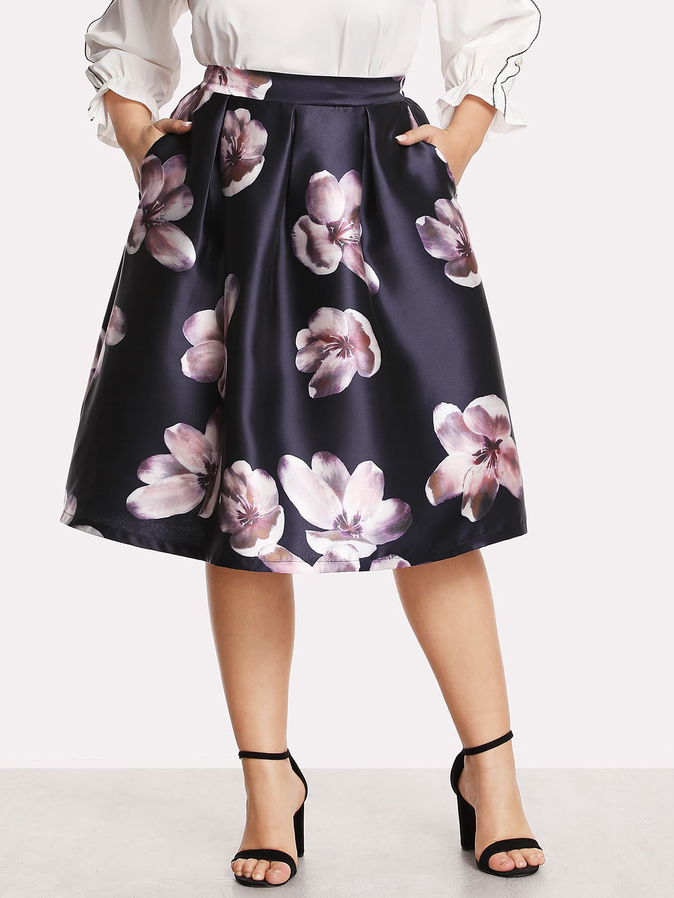 Box Pleated Floral Volume Skirt box pleated suede skirt