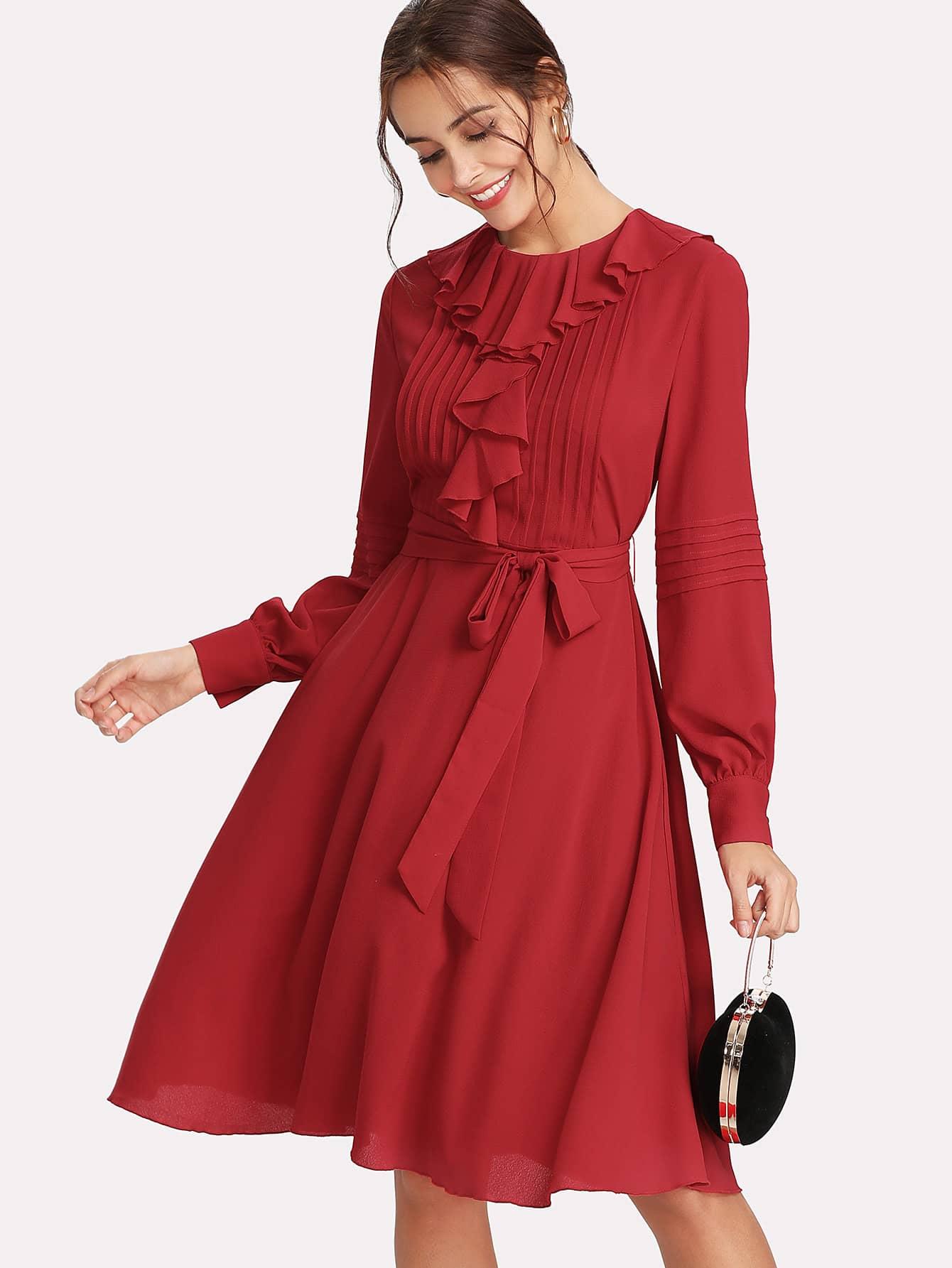 Self Tie Waist Ruffle Trim Dress self tie waist ruffle skirt