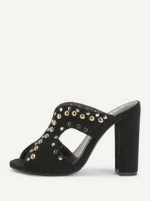 Studded Decorated Peep Toe Pumps