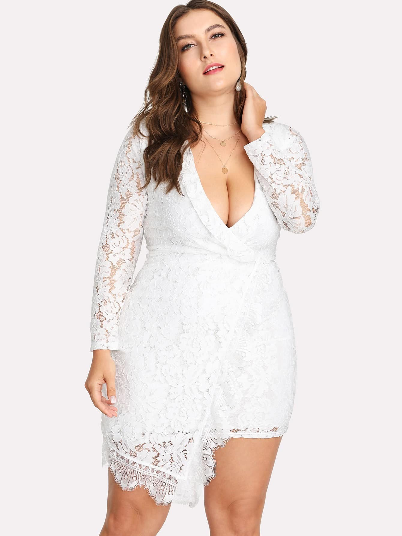 Lace Deep V Neckline Asymmetrical Hem Dress v neckline asymmetrical hem tee