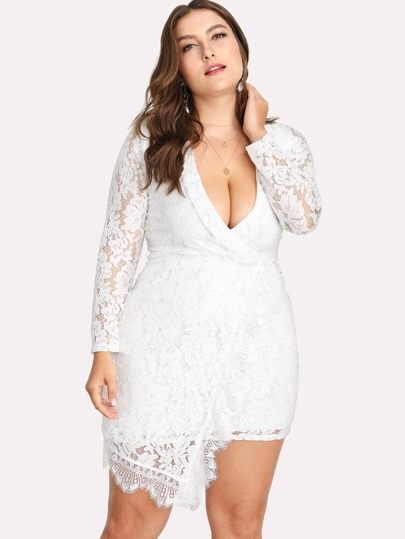 Lace Deep V Neckline Asymmetrical Hem Dress