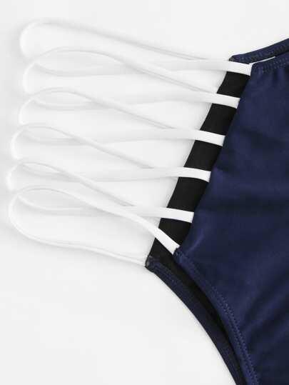 SheIn / Triangle Halter Top With Ladder Cut-out Bikini