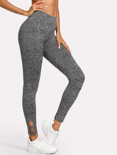 Lattice Hem Marled Knit Leggings