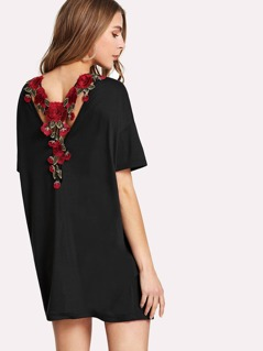 Flower Applique V Back Tunic Dress