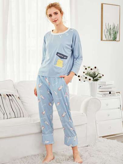 Cartoon Print Top & Pants PJ Set