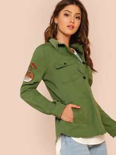 Embroidery Patch Tie Waist Utility Jacket GREEN
