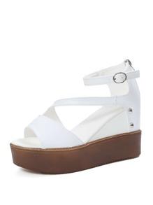 Back Zipper Flatform Sandals