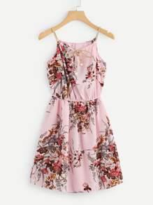 Floral Print Random Tie Neck Cami Dress