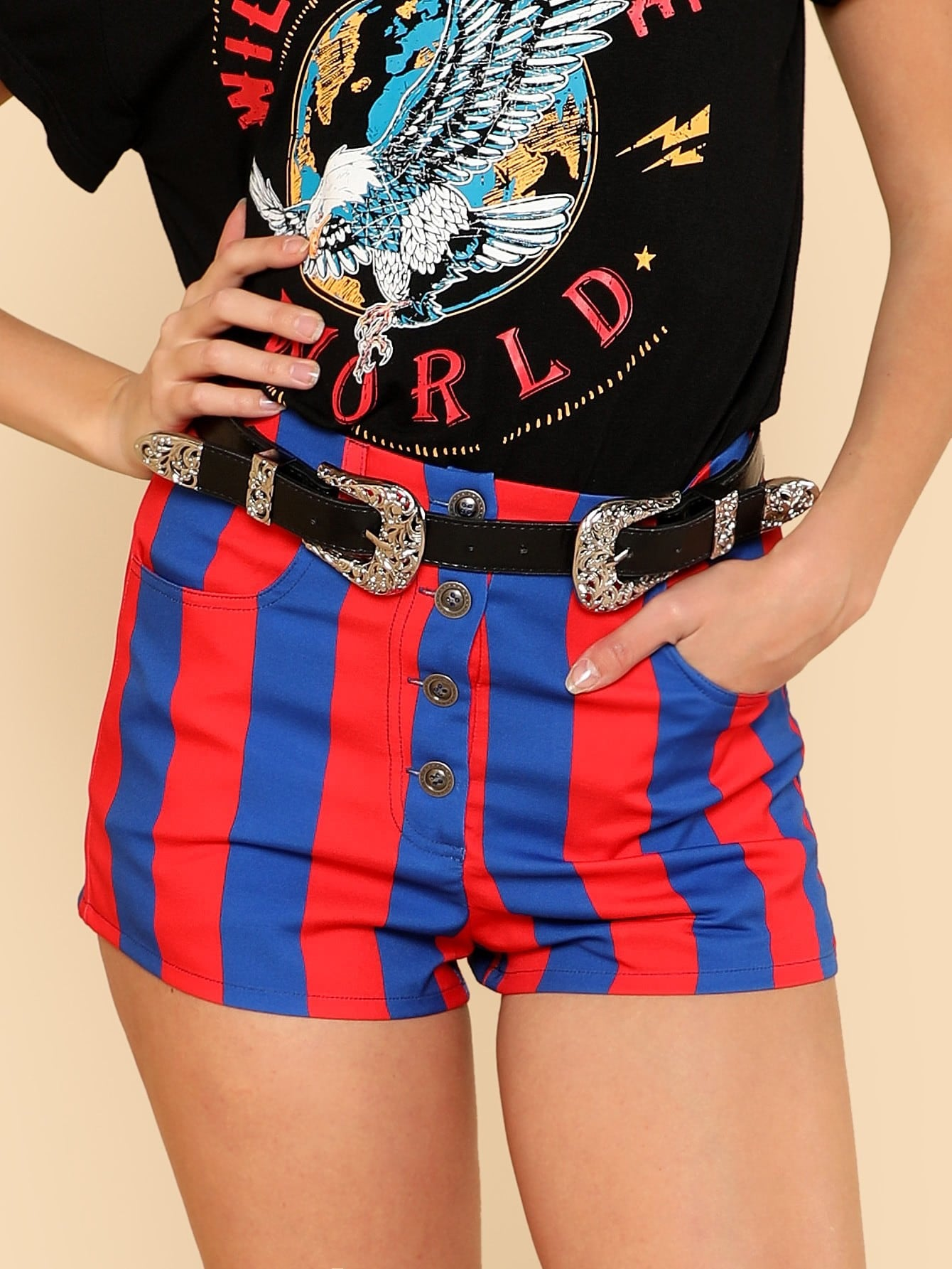 Two Tone Button Up Shorts drop crotch loose two tone pants