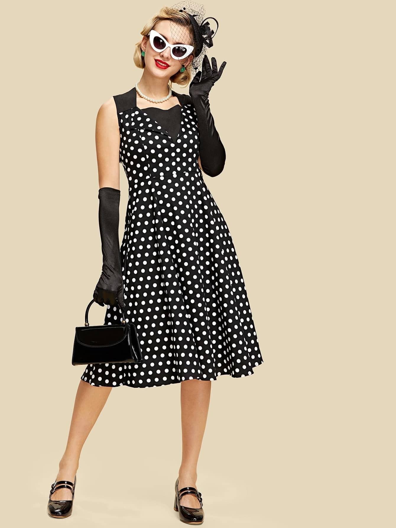 Cut And Sew Polka Dot Flare Dress low cut polka dot swing dress