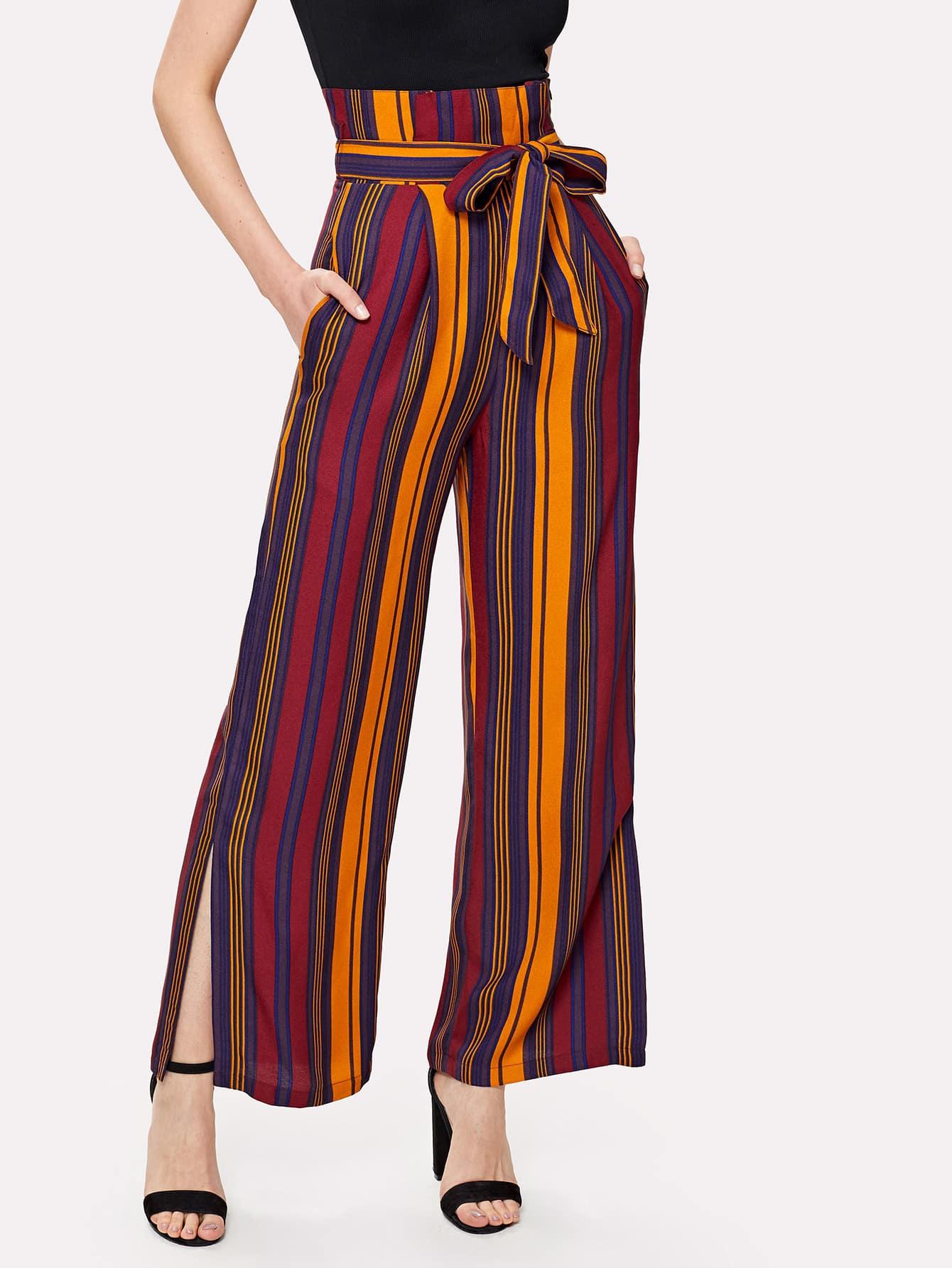 Tie Waist Split Hem Striped Palazzo Pants striped ruffled waist self tie pants