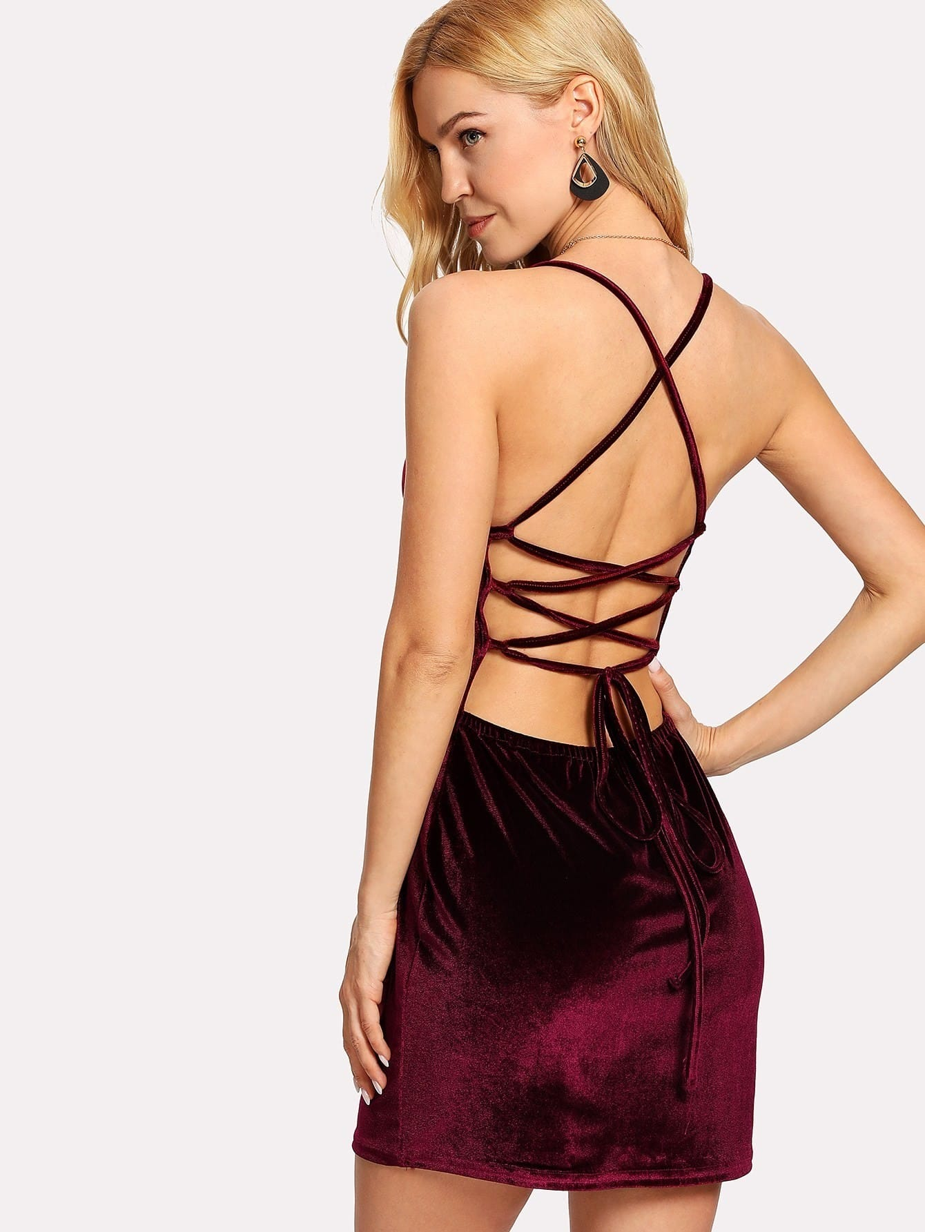 Lace Up Open Back Velvet Bodycon Dress silver sequins embellished open back lace up top