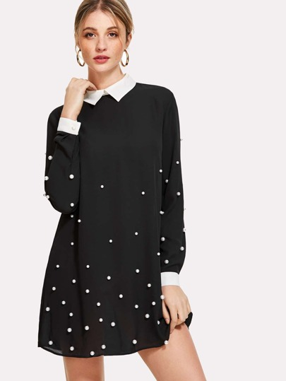 Contrast Collar And Cuff Pearl Detail Dress