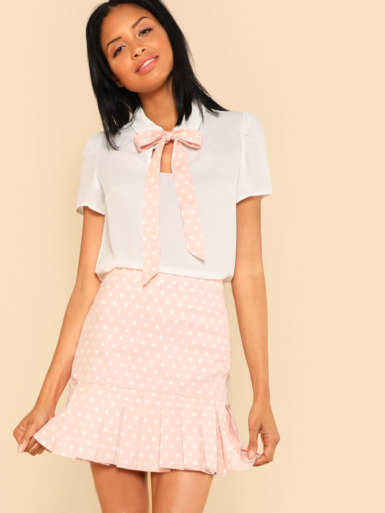 Tie Neck Top & Ruffle Polka Dot Skirt Co-Ord