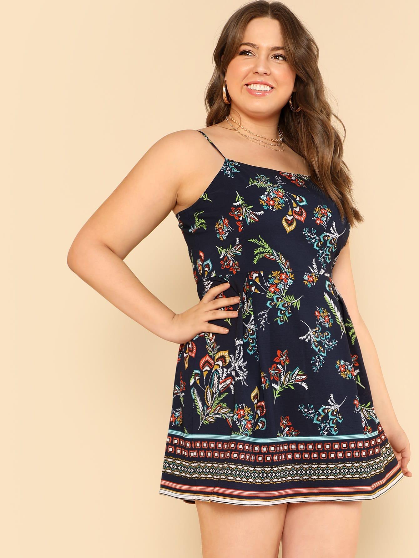 Купить Fit & Flare Цветочные Ками платье, Bailey Carr, SheIn