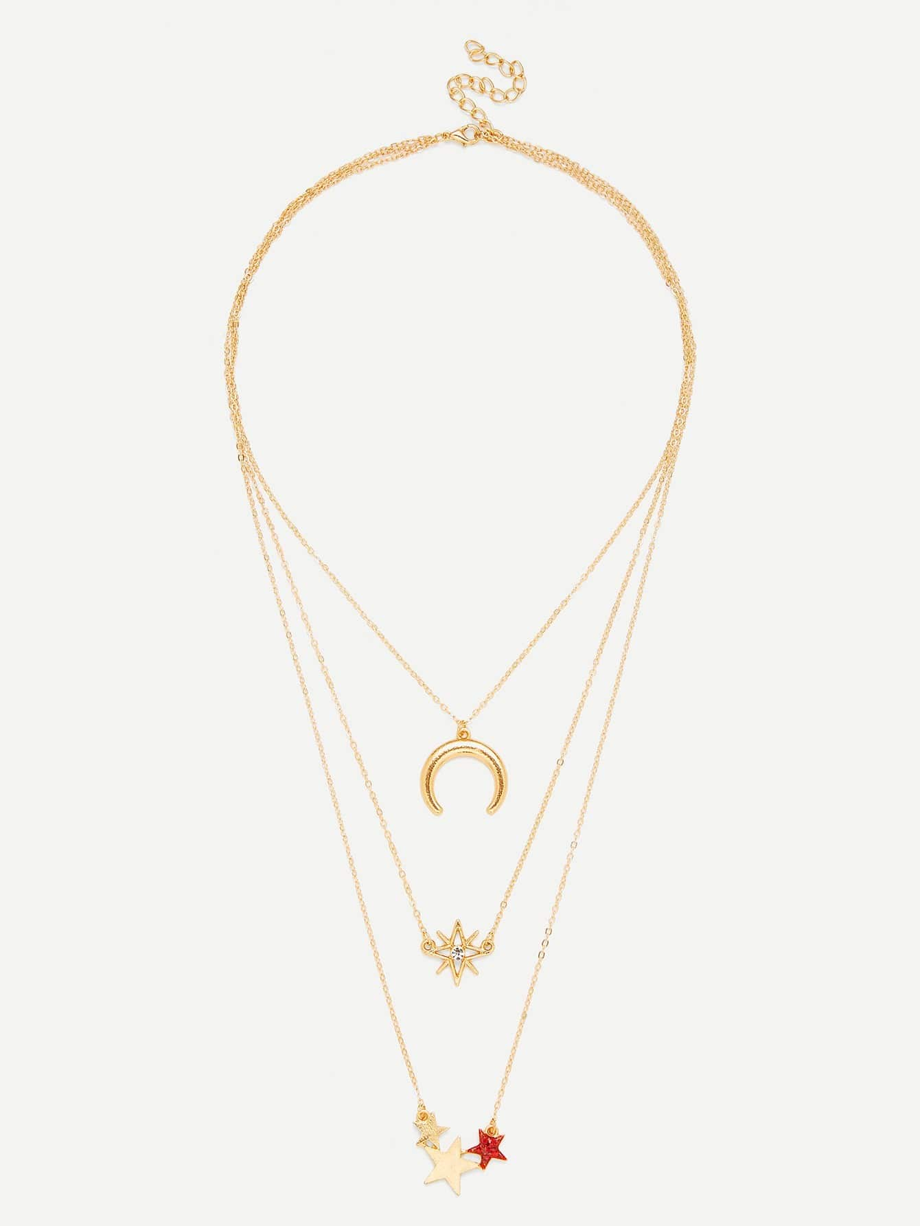 Star & Moon Pendant Layered Chain Necklace