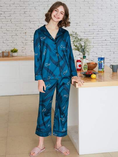 Feather Print Shirt & Pants PJ Set