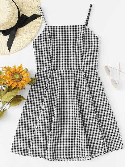 Cut Out Back Gingham Cami Dress