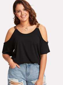 Embroidered Strap Detail Cold Shoulder Tee