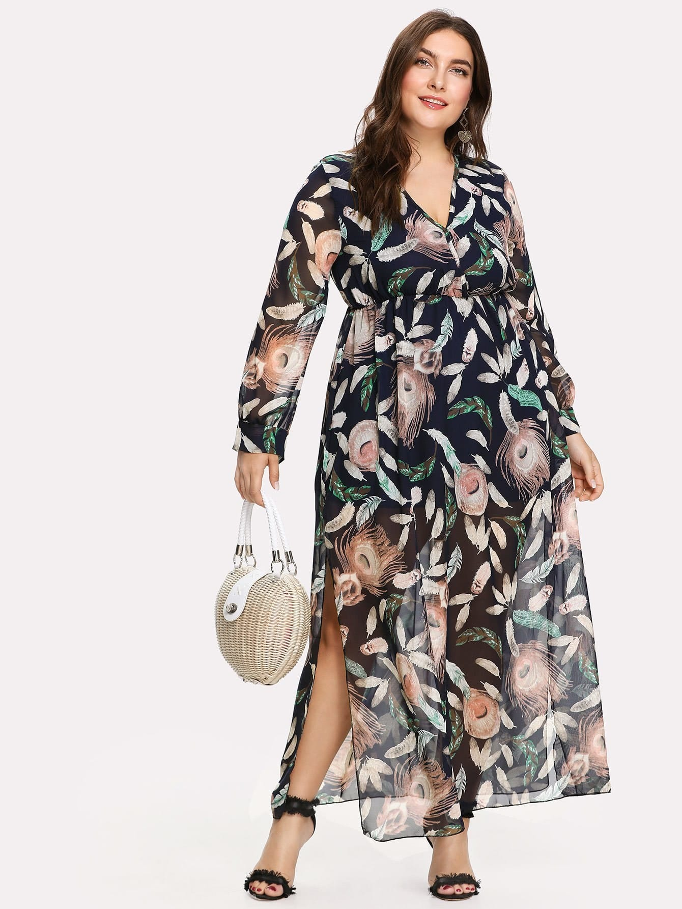 Plus Feather Print Slit Side Surplice Dress