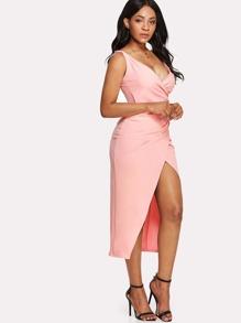 Surplice Wrap Split Front Dress