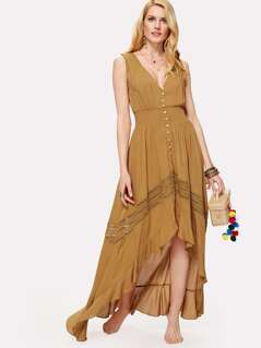 Shirred Waist Lace Panel Button Up Asymmetric Dress