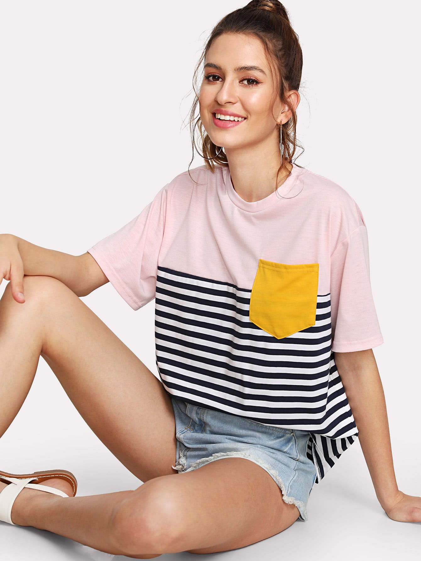 Pocket Patched Striped Tee pocket patched striped shell shirt