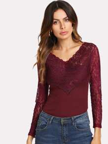 Illusion Lace Shoulder Fitted T-shirt