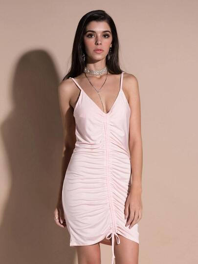 Deep V Neckline Ruched Cami Dress